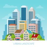Città di concetto di vettore e vita suburbana Via della città, grandi costruzioni moderne, paesaggio urbano, automobili Paesaggio royalty illustrazione gratis