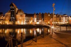 Città di Danzica di notte Immagine Stock Libera da Diritti