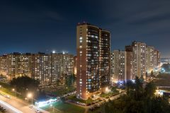 Città di Doldoprudny alla notte Immagine Stock Libera da Diritti
