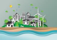 Città di Eco con l'ambiente verde Fotografie Stock