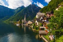 Città di estate, alpi, Austria di Hallstatt Immagine Stock