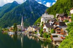 Città di estate, alpi, Austria di Hallstatt Fotografia Stock