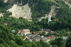 Città di estrazione mineraria, Rosia Montana, Romania Fotografia Stock