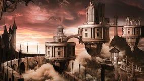Città di fantasia con i draghi royalty illustrazione gratis