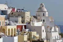 Città di Fira, Santorini, Tira Island, Cicladi Fotografie Stock Libere da Diritti