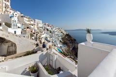 Città di Fira, Santorini, Tira Island, Cicladi Fotografia Stock