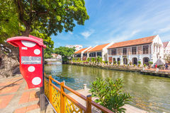 Città di Hard Rock Cafe lungo il fiume di Melaka nel Malacca, Malesia Immagini Stock Libere da Diritti