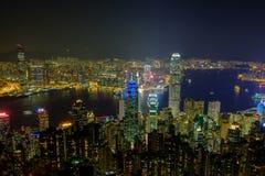 Città di Hong Kong alla notte Fotografia Stock