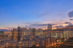 Città di Hong Kong, alta densità, zona difficile Fotografia Stock