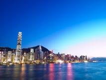 Città di Hong Kong e porto della Victoria fotografia stock libera da diritti