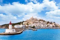 Città di ibiza di Eivissa dal falò rosso di colore rosso del faro Immagini Stock Libere da Diritti