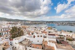 Città di Ibiza e porto, Isole Baleari fotografia stock libera da diritti