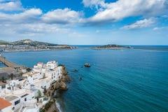 Città di Ibiza e porto, Isole Baleari Immagine Stock Libera da Diritti