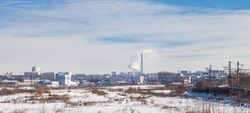 Città di industriale di inverno di panorama Fotografia Stock Libera da Diritti