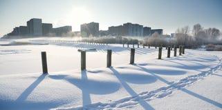 Città di inverno fotografia stock