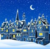 Città di inverno di notte illustrazione vettoriale