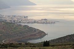 Città di Itea da sopra Immagini Stock Libere da Diritti
