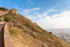 Città di Jaipur dalla fortificazione di Nahargarh, Jaipur, Ragiastan, India fotografia stock