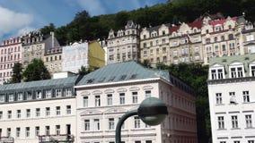 Città di Karlovy Vary in repubblica Ceca stock footage