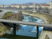 Città di Kaunas e vista dell'isola e del fiume di Nemunas immagine stock