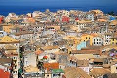 Città di Kerkyra a Corfù Fotografie Stock