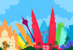 Città di Kuala Lumpur Malaysia Abstract Skyline Immagini Stock Libere da Diritti