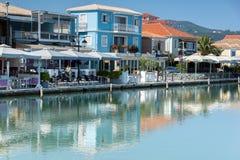 CITTÀ DI LEUCADE, GRECIA 17 LUGLIO 2014: Vista panoramica della città di Leucade, Grecia Fotografia Stock Libera da Diritti