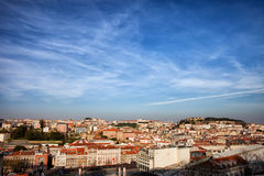 Città di Lisbona al tramonto Fotografia Stock