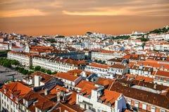Città di Lisbona nel Portogallo Vista dell'alloggio Immagine Stock