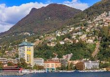 Città di Lugano in Svizzera Immagini Stock Libere da Diritti