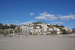 Città di Malaga, vista della spiaggia, spagna fotografia stock