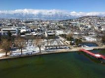 Città di Matsumoto coperta dalla vista aerea della neve a Nagano Giappone Fotografia Stock