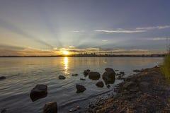 Città di Montreal al tramonto Fotografia Stock