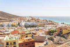Città di Morro Jable situata sopra a sud dell'isola di Fuerteventura, Jandia, Spagna immagini stock libere da diritti