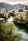 Città di Mostar e del fiume di Neretva Immagine Stock