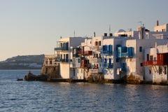 Città di Mykonos alla sera Immagini Stock Libere da Diritti