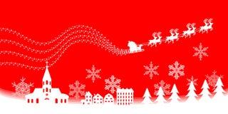 Città di Natale, colore rosso. illustrazione di stock