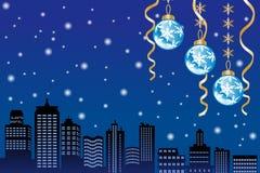 Città di nevicata EPS10 di notte di Natale royalty illustrazione gratis