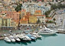Città di Nizza - punto di vista di Port de Nice Fotografia Stock Libera da Diritti