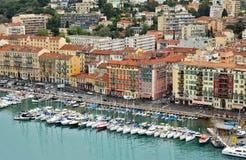 Città di Nizza - punto di vista di Port de Nice Immagini Stock Libere da Diritti