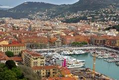 Città di Nizza - punto di vista di Port de Nice Fotografia Stock