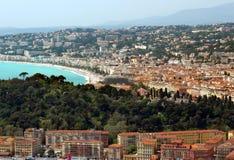 Città di Nizza - vista panoramica del Villefranche-sur-Mer del distretto Fotografia Stock Libera da Diritti