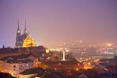 Città di notte con la cattedrale Immagine Stock