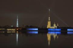 Città di notte con le luci Immagine Stock