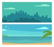 Città di notte di panorama e mare di tramonto Illustrazione di colore orizzontale piana di vettore Fotografie Stock