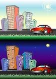 Città di notte e di giorno Fotografia Stock
