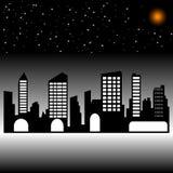 Città di notte Siluetta Fotografia Stock Libera da Diritti