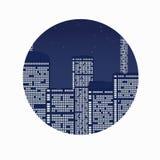 Città di notte sotto le stelle. Immagini Stock