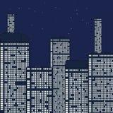 Città di notte sotto le stelle. Immagine Stock