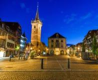 Città di Obernai, alla notte, Bas-Rhin l'Alsazia Francia fotografia stock libera da diritti